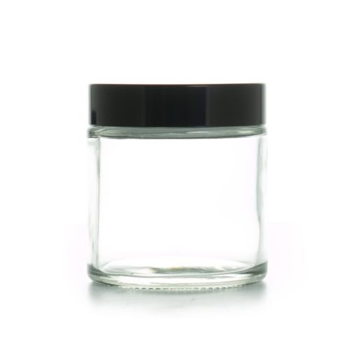 4oz 120ml Clear Glass Container Jar with Black Lid