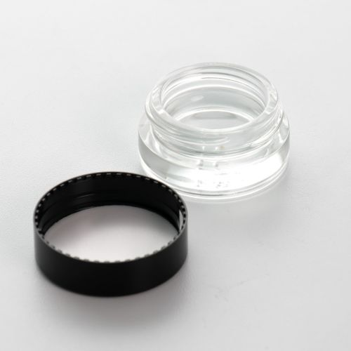 5g Clear Glass Container Jar with Black Lid