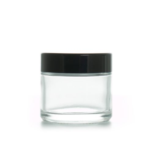 2oz 60g Clear Glass Container Jar with Black Lid