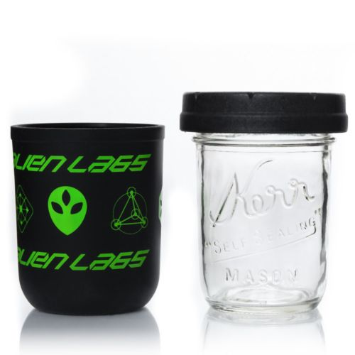 Black & Green 8oz AlienLabs Mason Stash Jar by RE:STASH