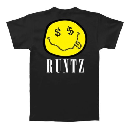 Smiley Face T-Shirt By Runtz - Black