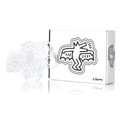 Dog Bat Crystal Glass Ashtray / Catchall by Keith Haring