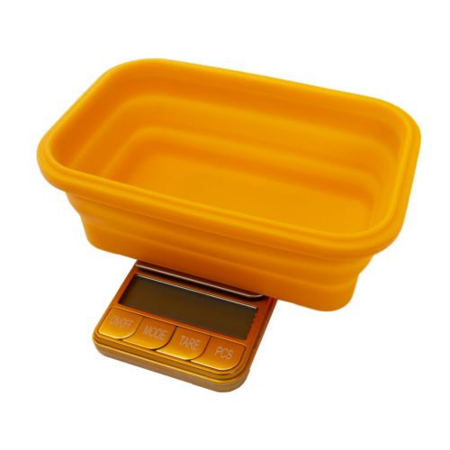 Omega Collapsible Silicone Bowl Digital Scales - (Platinum Collection) by Kenex - Orange