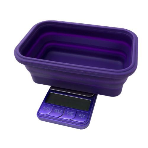 Omega Collapsible Silicone Bowl Digital Scales - (Platinum Collection) by Kenex - Purple