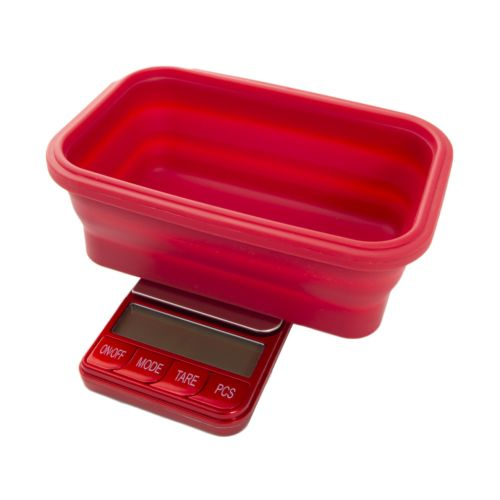 Omega Collapsible Silicone Bowl Digital Scales - (Platinum Collection) by Kenex - Red