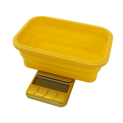 Omega Collapsible Silicone Bowl Digital Scales - (Platinum Collection) by Kenex - Yellow