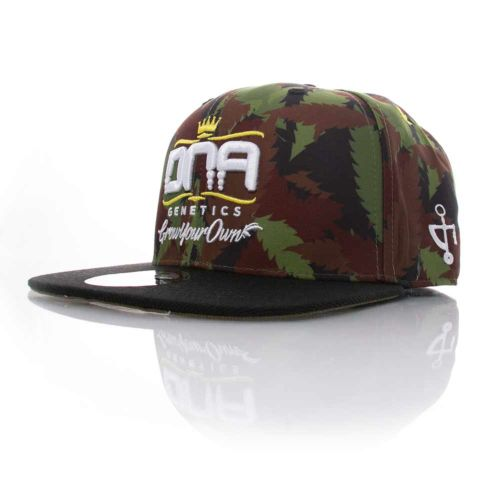 DNA Genetics 6 Panel Fitted Hat - Ganja Leaf Camo