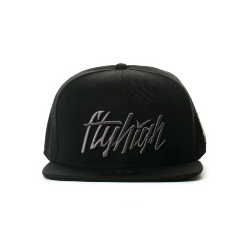 Fly High Club Full Script Logo Snapback Hat (Black/Grey)