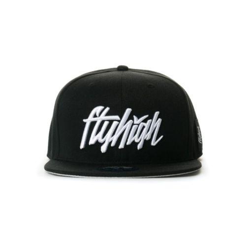 Fly High Club Full Script Logo Snapback Hat (Black/White)