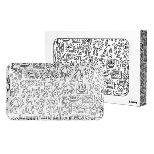 Black & White Glass Rolling Tray by Keith Haring