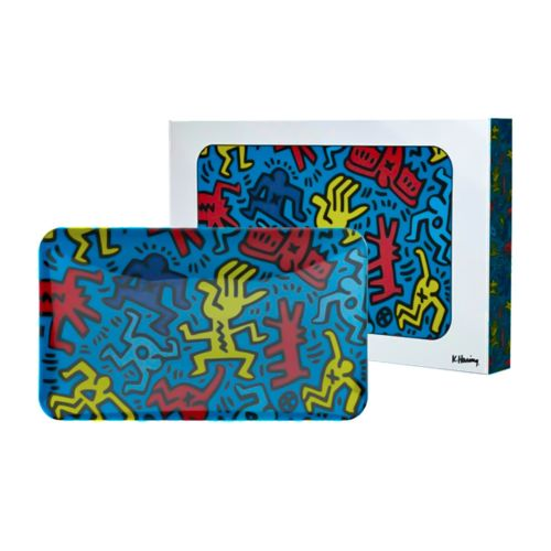 Blue Glass Rolling Tray by Keith Haring