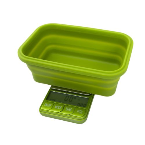 Omega Collapsible Silicone Bowl Digital Scales - (Platinum Collection) by Kenex - Green