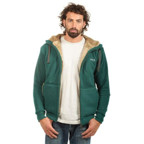 Mens Furry Hemp Hoody by Hoodlamb - Small Green