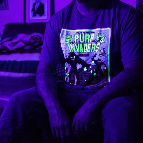 Purple Invaders Episode 1 T-Shirt by The Smokers Club - Black