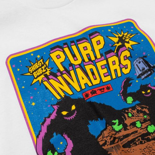 Purple Invaders Episode 1 T-Shirt by The Smokers Club - White