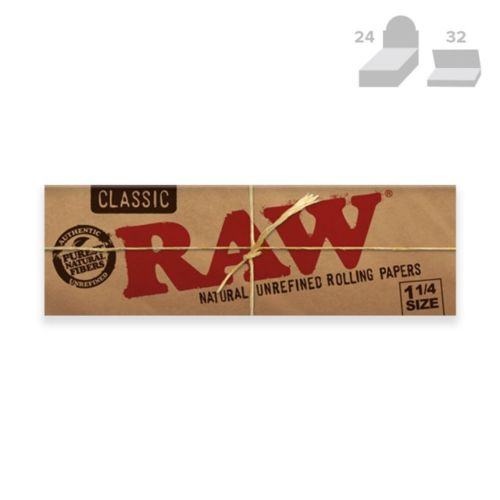 RAW Classic 1 1/4 Natural Rolling Papers (50/Papers, 24/Box)
