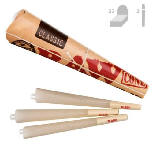 RAW Classic KingSize Pre-Rolled Cones (3/Pack, 32/Box)