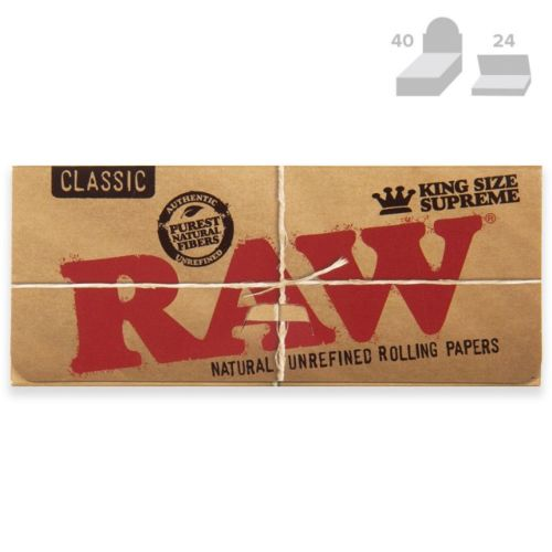 RAW Classic KingSize Supreme Creaseless Natural Rolling Papers (40/Papers, 24/Box)