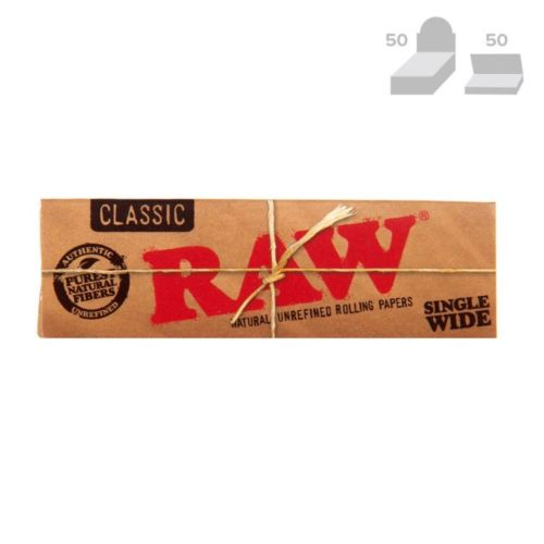RAW Classic Single Wide Natural Rolling Papers (50/Papers, 50/Box)