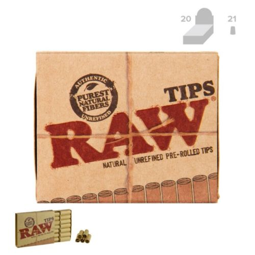RAW Natural Unrefined Re-Rolled Filter Roach Tips (21/Tips, 20/Box)