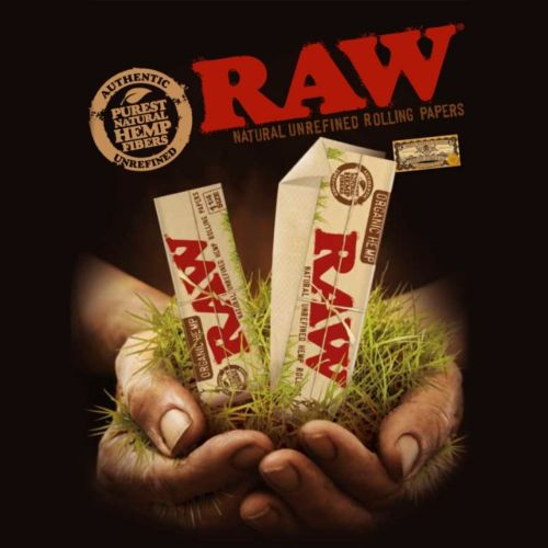 RAW Organic Hemp Connoisseur KingSize Slim with Tips Natural Rolling Paper (32/Papers, 50/Box)