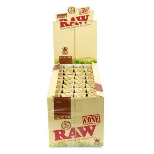 RAW Organic Hemp KingSize Pre-Rolled Cones (3/Pack, 32/Box)