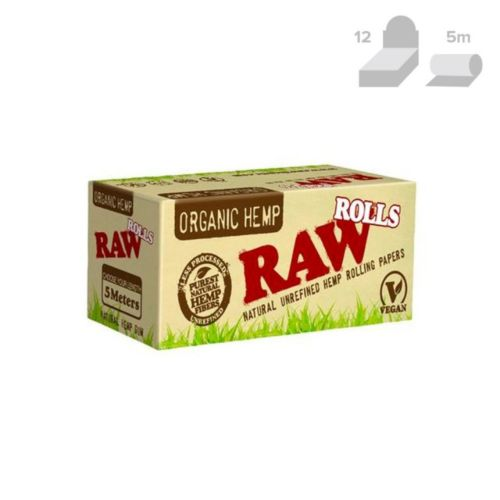 RAW Organic Hemp Natural Rolling Paper Rolls (5 Metre, 12/Box)