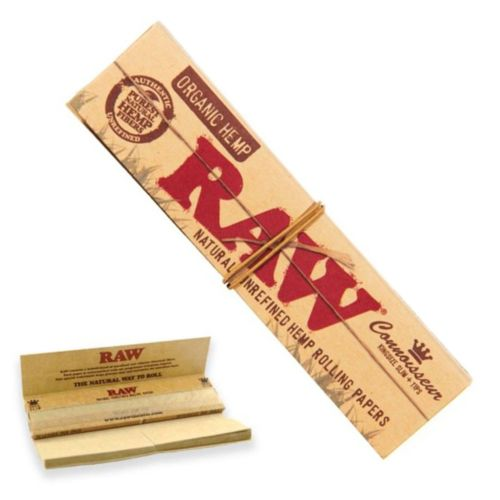 RAW Organic Hemp Connoisseur KingSize Slim with Tips Natural Rolling Paper (32/Papers, 24/Box)