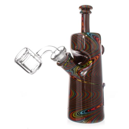 Black Rewag Spiral Bottle Dab Rig By Nish Glass