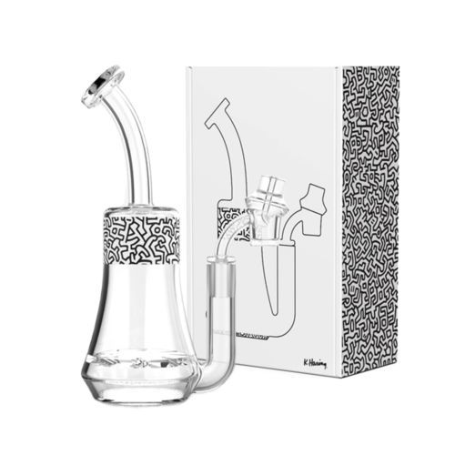 Black & White Glass Concentrate Rig by Keith Haring