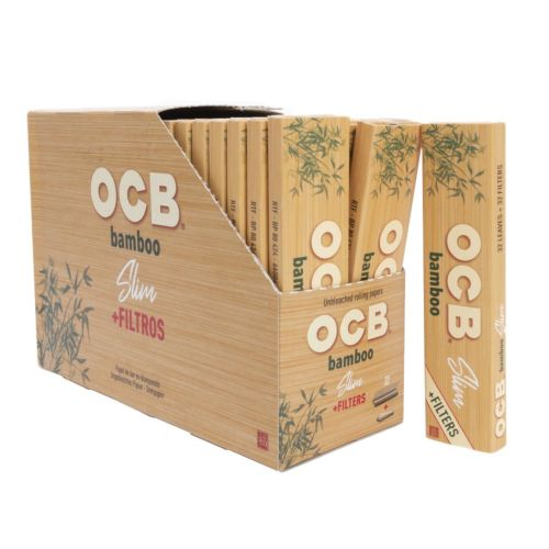 OCB Bamboo King-Size Slim Rolling Papers + Tips