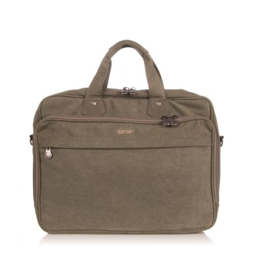 Sativa Hemp Large Travel Laptop Bag (Khaki)
