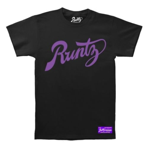 Script T-Shirt By Runtz - Black and Purple