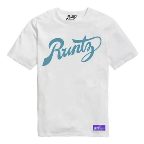 Script T-Shirt By Runtz - White and Teal