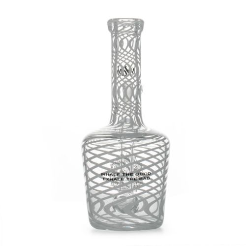 Small White Stripes Custom Henny Bottle Dab Rig 10mm by iDab Glass
