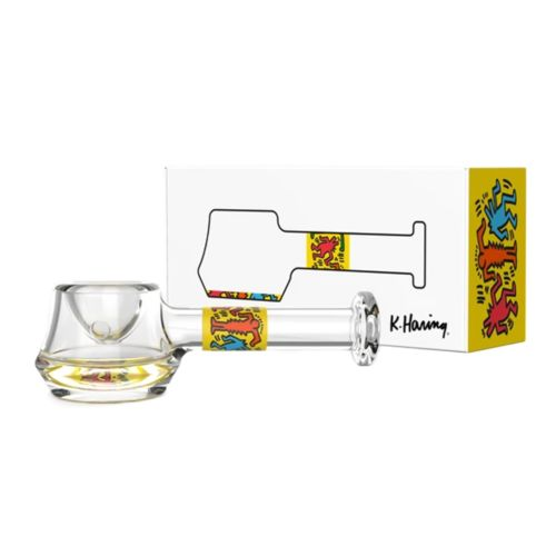 Yellow Glass Spoon Pipe by Keith Haring