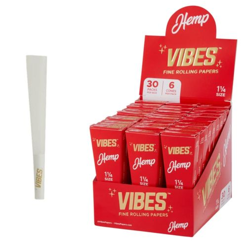Vibes Cones Coffin Pack – 1 ¼ Size Hemp (Red)