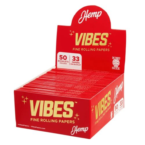Vibes King Size Slim Rolling Papers - Hemp (Red)