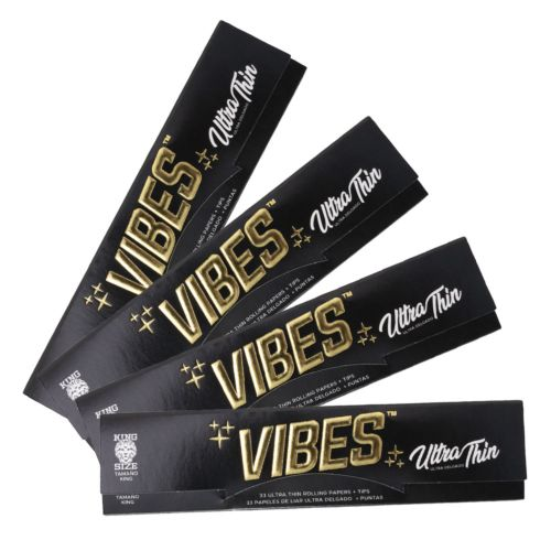 Vibes Ultra Thin Rolling Papers – King Size with Tips