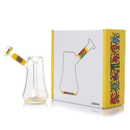 Yellow Glass Bubbler by Keith Haring