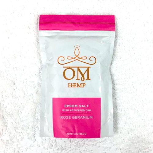 Rose Geranium Epsom Bath Salts with Activated CBD from Om Wellness